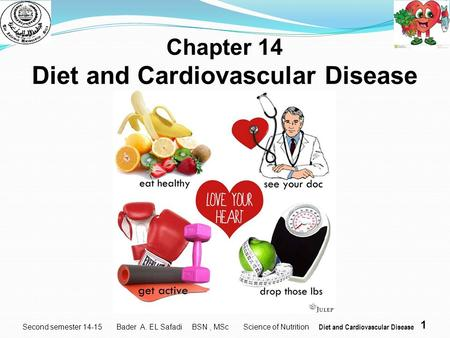 1 Second semester 14-15 Chapter 14 Diet and Cardiovascular Disease Bader A. EL Safadi BSN, MSc Science of Nutrition Diet and Cardiovascular Disease.