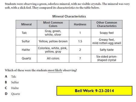 Bell Work 9-23-2014. Review … SPI 0707.7.1 Can I describe and classify the physical properties of minerals? Mineral id questions Silicate vs. Non-silicate.