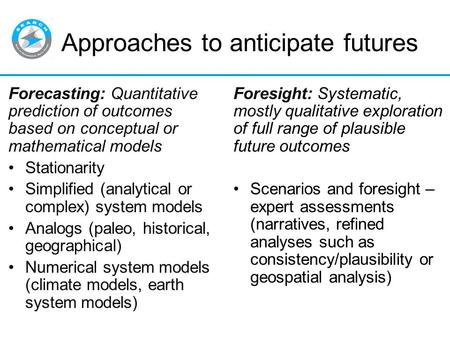 Approaches to anticipate futures Forecasting: Quantitative prediction of outcomes based on conceptual or mathematical models Stationarity Simplified (analytical.