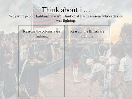 Think about it… Why were people fighting the war? Think of at least 2 reasons why each side was fighting. Reasons the colonists are fighting Reasons the.
