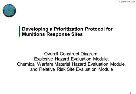 0 September 16, 2002 Developing a Prioritization Protocol for Munitions Response Sites Overall Construct Diagram, Explosive Hazard Evaluation Module, Chemical.