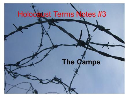 The Camps Holocaust Terms Notes #3 The Camps. Types of Camps: Concentration Camps - Dachau Slave Labor Camps - Mauthausan Death Camps - Auschwitz, Treblinka,