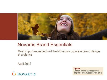 Novartis Brand Essentials Most important aspects of the Novartis corporate brand design at a glance April 2012 Update Content reflects ECN approved corporate.