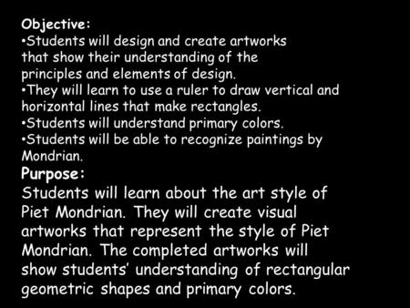 Students will learn about the art style of