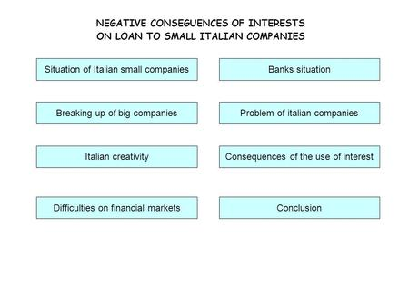 NEGATIVE CONSEGUENCES OF INTERESTS ON LOAN TO SMALL ITALIAN COMPANIES Breaking up of big companies Italian creativityConsequences of the use of interest.
