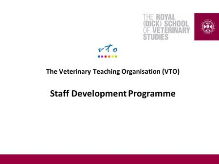 The Veterinary Teaching Organisation (VTO) Staff Development Programme.