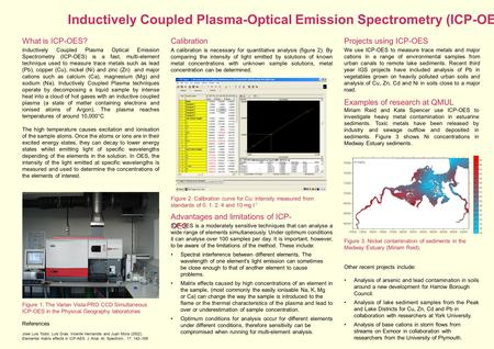 Inductively Coupled Plasma-Optical Emission Spectrometry (ICP-OES) Figure 1. The Varian Vista-PRO CCD Simultaneous ICP-OES in the Physical Geography laboratories.