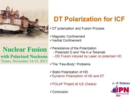 DT polarization and Fusion Process Magnetic Confinement Inertial Confinement Persistence of the Polarization - Polarized D and 3 He in a Tokamak - DD Fusion.