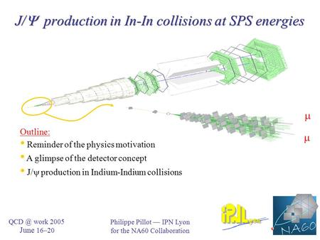 J/  production in In-In collisions at SPS energies Philippe Pillot — IPN Lyon for the NA60 Collaboration work 2005 June 16–20   Outline: Reminder.