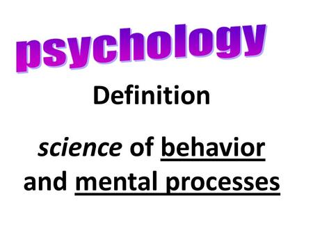 Definition science of behavior and mental processes.