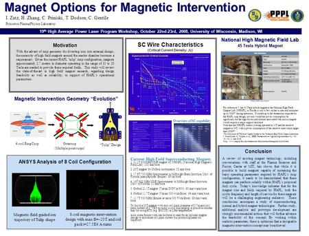 Magnet Options for Magnetic Intervention SC Wire Characteristics (Critical Current Density: Jc) With the advent of cusp geometry for diverting ions into.
