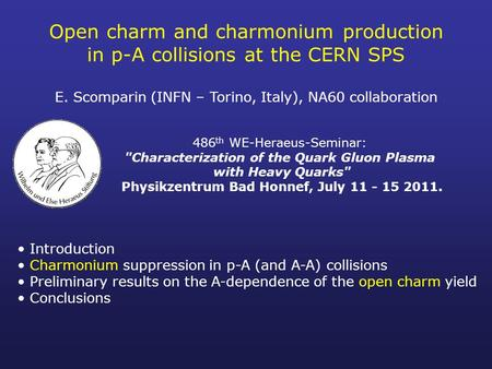 Open charm and charmonium production in p-A collisions at the CERN SPS E. Scomparin (INFN – Torino, Italy), NA60 collaboration Introduction Charmonium.