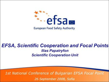 1st National Conference of Bulgarian EFSA Focal Point