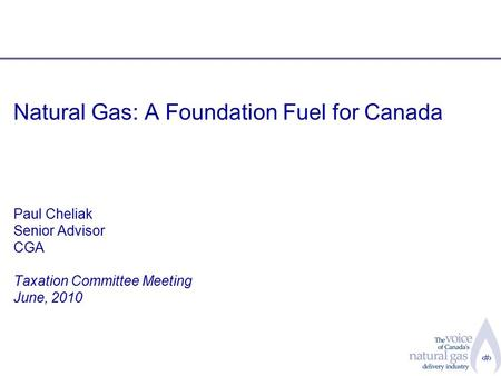 1 Natural Gas: A Foundation Fuel for Canada Paul Cheliak Senior Advisor CGA Taxation Committee Meeting June, 2010.