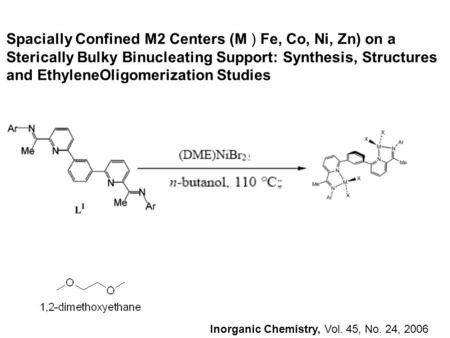 Inorganic Chemistry, Vol. 45, No. 24, 2006 Spacially Confined M2 Centers (M ) Fe, Co, Ni, Zn) on a Sterically Bulky Binucleating Support: Synthesis, Structures.