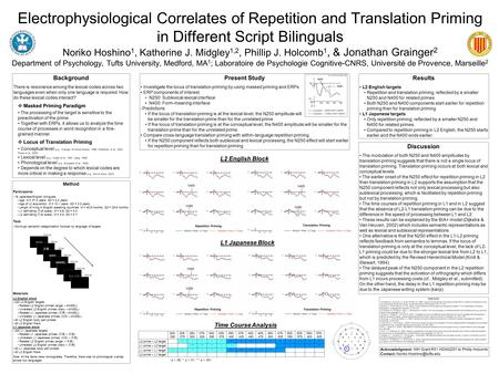 Electrophysiological Correlates of Repetition and Translation Priming in Different Script Bilinguals Noriko Hoshino 1, Katherine J. Midgley 1,2, Phillip.