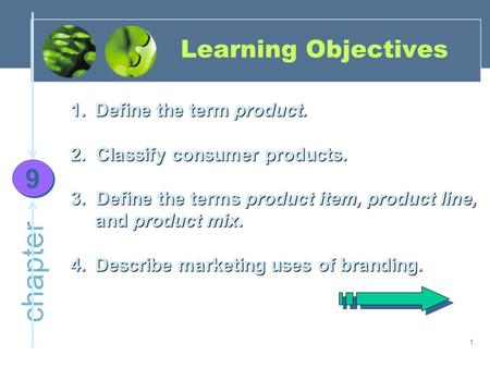 1 chapter Learning Objectives 9 9 1.Define the term product. 2. Classify consumer products. 3. Define the terms product item, product line, and product.