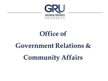 Office of Government Relations & Community Affairs.