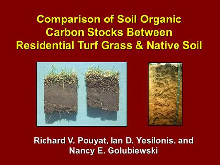 Comparison of Soil Organic Carbon Stocks Between