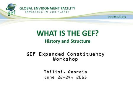WHAT IS THE GEF? History and Structure GEF Expanded Constituency Workshop Tbilisi, Georgia June 22-24, 2015.