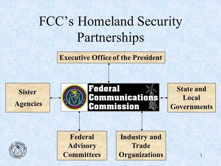 1 FCC's Homeland Security Partnerships Executive Office of the PresidentState and Local Governments Sister Agencies Industry and Trade Organizations Federal.