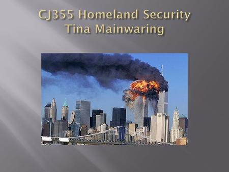  CJ 355- Homeland Security  Weekly Seminar: Monday Nights, 9PM Eastern Time  Discussion Boards: MINIMUM of 3 posts  1 Original response to the questions.