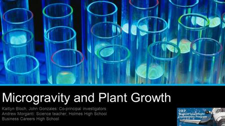 Microgravity and Plant Growth Kaitlyn Bloch, John Gonzales: Co-principal investigators Andrew Morganti: Science teacher, Holmes High School Business Careers.