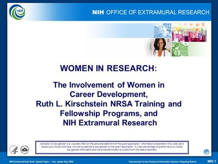 NIH Extramural Data Book, Special Topics – last update May 2008Data provided by the Division of Information Services, Reporting Branch WIR 1 The Involvement.