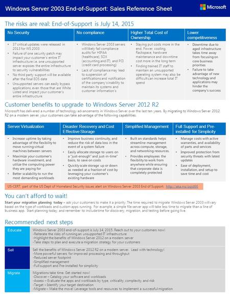 Windows Server 2003 End-of-Support: Sales Reference Sheet The risks are real: End-of-Support is July 14, 2015 No SecurityNo complianceHigher Total Cost.