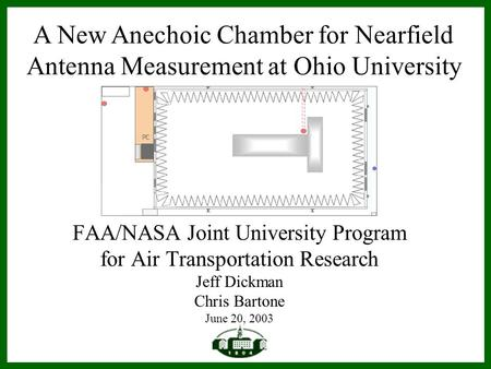 FAA/NASA Joint University Program for Air Transportation Research Jeff Dickman Chris Bartone June 20, 2003 A New Anechoic Chamber for Nearfield Antenna.
