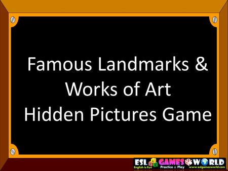Famous Landmarks & Works of Art Hidden Pictures Game.