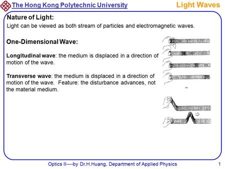 The Hong Kong Polytechnic University Optics II----by Dr.H.Huang, Department of Applied Physics1 Light Waves Nature of Light: Light can be viewed as both.