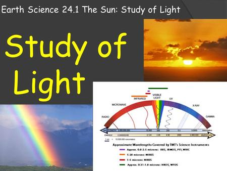Earth Science 24.1 The Sun: Study of Light Study of Light.