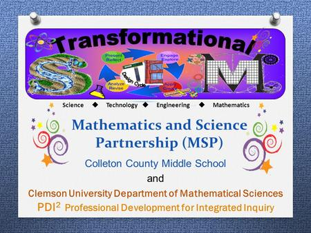 Mathematics and Science Partnership (MSP) Colleton County Middle School and Clemson University Department of Mathematical Sciences PDI 2 Professional Development.