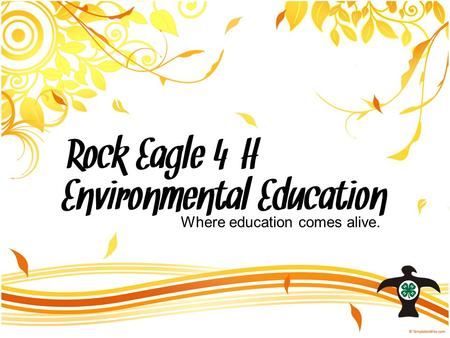 Rock Eagle 4-H Environmental Education Where education comes alive.