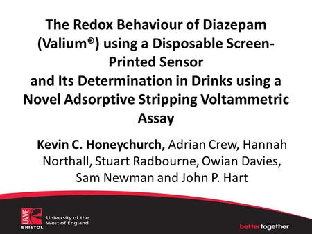 The Redox Behaviour of Diazepam (Valium®) using a Disposable Screen- Printed Sensor and Its Determination in Drinks using a Novel Adsorptive Stripping.