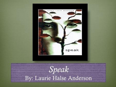 essay questions for the book speak Neil gadingan mr bambrick english period 1 speak in the novel speak, by laurie halse anderson, melinda sordino is the protagonist who was raped and.