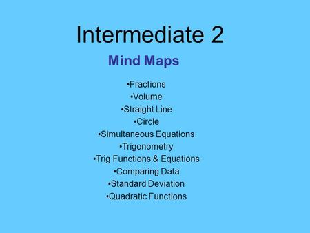 Intermediate 2 Mind Maps Fractions Volume Straight Line Circle Simultaneous Equations Trigonometry Trig Functions & Equations Comparing Data Standard Deviation.