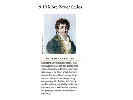 9.10 More Power Series. Example 2 Problem 6 Find the a power series for the function centered at c.