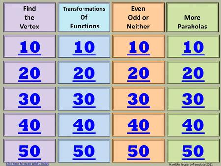 Find the Vertex Transformations Of Functions Even Odd or Neither More Parabolas 10 20 30 40 50 10 20 30 40 50 10 20 30 40 50 10 20 30 40 50 Hardtke Jeopardy.