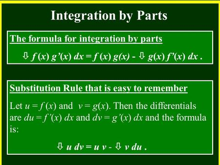 CHAPTER 2 2.4 Continuity Integration by Parts The formula for integration by parts  f (x) g'(x) dx = f (x) g(x) -  g(x) f'(x) dx. Substitution Rule that.