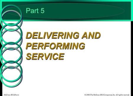 © 2006 The McGraw-Hill Companies, Inc. All rights reserved.McGraw-Hill/Irwin Part 5 DELIVERING AND PERFORMING SERVICE.
