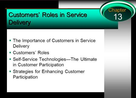 13 Chapter Customers' Roles in Service Delivery  The Importance of Customers in Service Delivery  Customers' Roles  Self-Service Technologies—The Ultimate.