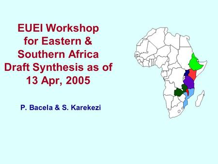 EUEI Workshop for Eastern & Southern Africa Draft Synthesis as of 13 Apr, 2005 P. Bacela & S. Karekezi.