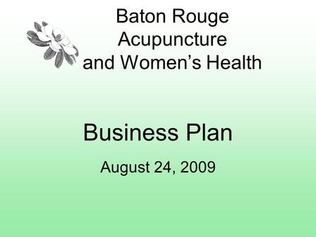 Baton Rouge Acupuncture and Women's Health Business Plan August 24, 2009.