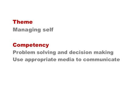 Theme Managing self Competency Problem solving and decision making Use appropriate media to communicate.