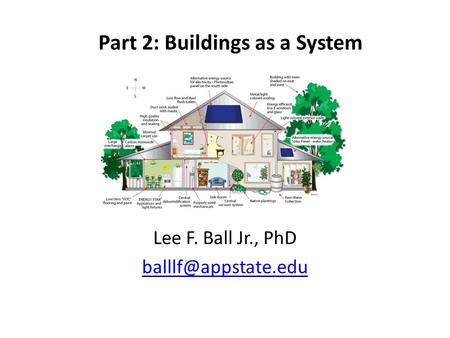 Part 2: Buildings as a System Lee F. Ball Jr., PhD