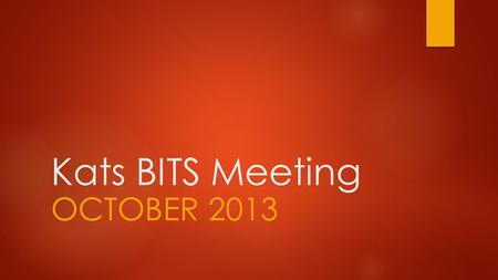 Kats BITS Meeting OCTOBER 2013. Kats BITS  Briefing  Information  Training  Standardisation.