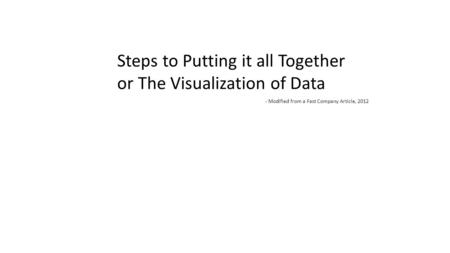 Steps to Putting it all Together or The Visualization of Data - Modified from a Fast Company Article, 2012.