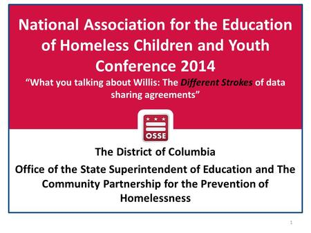 "National Association for the Education of Homeless Children and Youth Conference 2014 ""What you talking about Willis: The Different Strokes of data sharing."